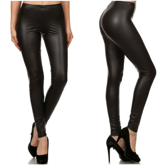 faba1ce25150ac Pants | Matte Black Vegan Faux Leather Leggings | Poshmark
